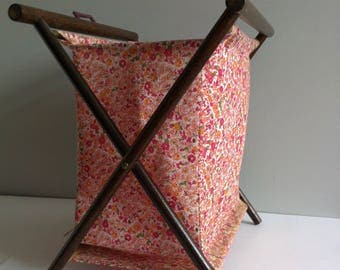 Vintage sewing, knitting basket, cotton floral fabric, possibly Libertys, foldable wood frame.