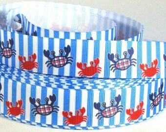 """Beach Crab on Blue & White Stripes  - 7/8"""" Grosgrain Ribbon"""