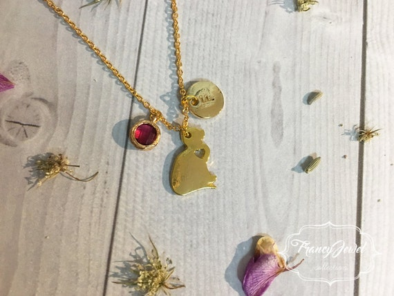 OOAK, cat necklace, initial necklace, crystal charm, cat shaped necklace, gold cat charm, kitten jewelry, animal jewelry, made in Italy