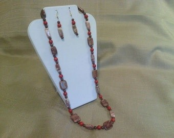 312 Red Sponge Coral, Fancy Brown/Beige Marble, and Brown Zebra Stone and Brown Clay Beads Beaded Necklace