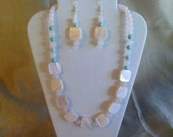 106 Delicate and Pretty Pale Pink Shell Beads and Rose Quartz with Magnesite Turquoise Accents Beaded Necklace