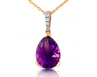 Amethyst and Diamond Rose Gold Pendant and Chain