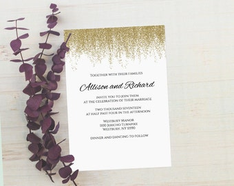 Faux Glitter Gold Wedding Invitations Editable Text Invitation Classic Templates