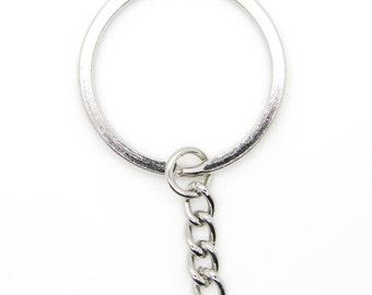 "100 pcs Keychain Split Ring 1-1/4"" 32mm with Extender Chain Key Ring Heavy Duty"
