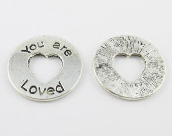Bulk You are Loved Heart Charm Pendant Message Ring 24mm Select Qty