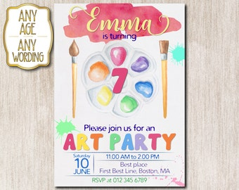 Art Party birthday invitation, Paint party invitation, Craft party invitation, 7th birthday invitation, Painting art party, ANY AGE - 1631