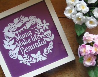 special occasion, unique, handmade, framed, white, purple, mum, mother gift, present.