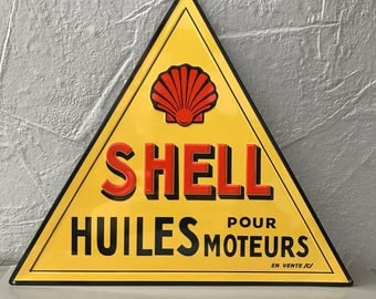 SHELL OIL METAL sign vintage garage car