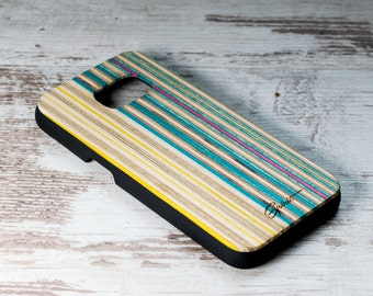 Samsung Galaxy S7 - Recycled Skateboard - Wooden Samsung Case - Skate Gift - Yellow - Blue - Boyfirend Gift - Wood Galaxy S7 - ONLY 7 PIECES