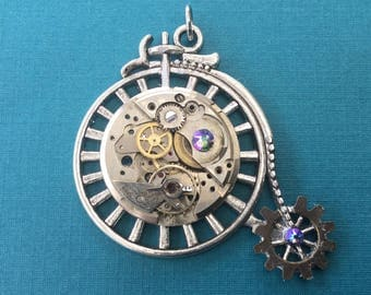 Large Bicycle Steampunk Pendant with Vintage Watch Movement & Swarovski Crystals / Penny Farthing