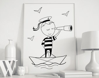 Little Sailor Print, Nursery Art, Kids Wall Art, Boy's Room Art, Kids Room Decor, Boat Nursery Print, Wall Decor, Nursery Room