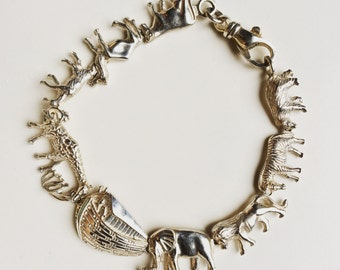 Vintage Sterling silver bracelet with Noah's Ark and animals.