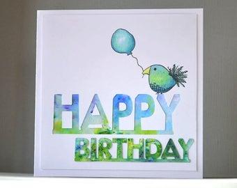 handmade birthday card, bird card, balloon card, blue card, green card, boy's card