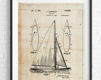 Sail Boat Patent Print, Sailboat Patent Print, Sailboat Print, Sailboat Art, Nautical Art, Boat Art, Boat Print, Nautical Prints, Gift Idea