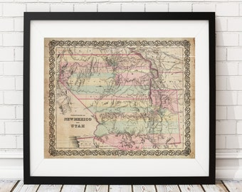 Utah Map, New Mexico Map, Vintage Map Art, Antique Map Print, Office Wall Art, Map of Utah, Old Map, Map Poster, Map of New Mexico, Gifts