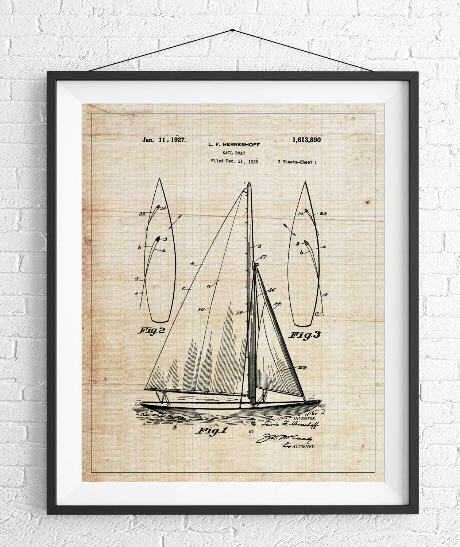 sail boat patent print sailboat patent print sailboat print