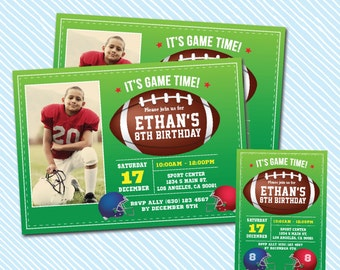 Digital Printable American Football Birthday Invitation. sports birthday