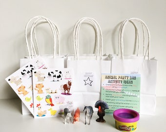 Farm Animal Birthday Party Favours - Set of 6 - Animal Party Favours - Kids Party - Party Bags - Kids Party Favors - Treat Bags - Loot Bags