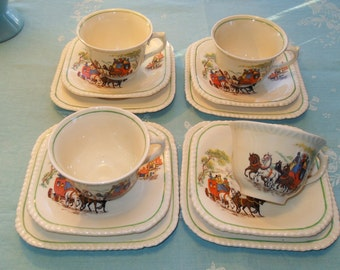Set of Four English Tea Trio Dessert Plate Saucer and Cup