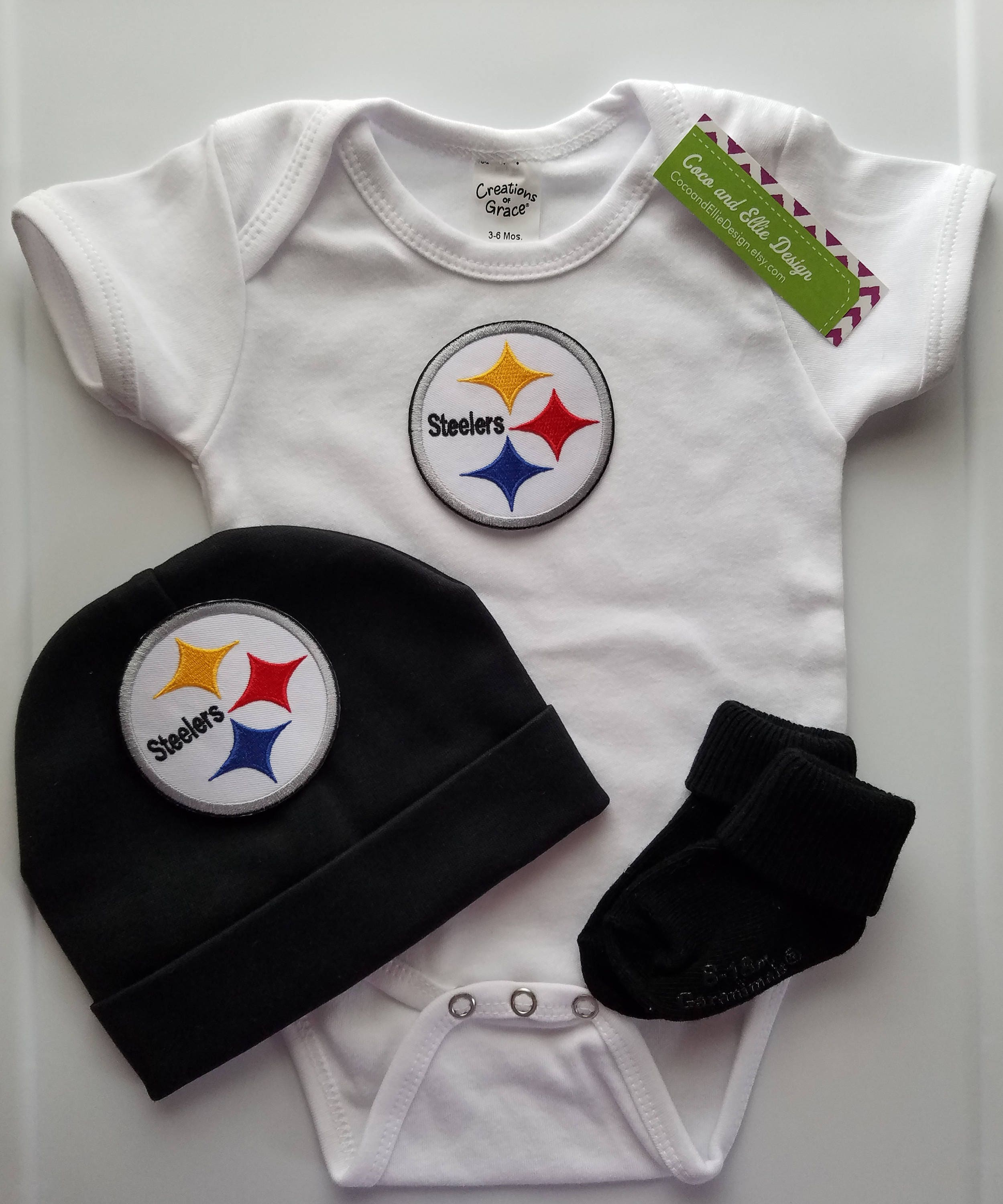 Pittsburgh Steelers boy outfit with hat Steelers baby boy