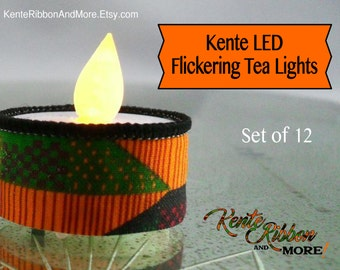 Kente LED Flickering Tea Lights - Battery Operated - NON-flame - Set of 12