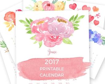2017 Printable Calendar, Floral Calendar, 8x10 Desk Calendar, Digital Calendar, Christmas Gift for Her, Instant Download, Wall Calendar