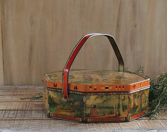 Hiawatha's Wedding Journey Handled Tin Box Organizer Box, Metal Tin, Props, Loose Wiles Sunshine Biscuit Co. 1920s