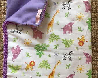 Jungle animals with flannel and trim