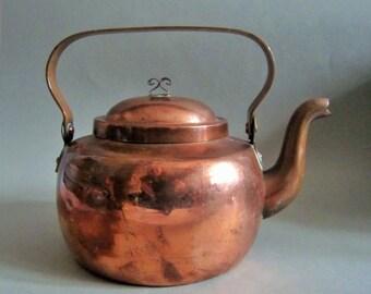 Vintage Hand Crafted Copper Kettle Tea Pot Arts & Crafts