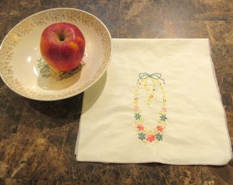Vintage hand towel, Embroidered flowers, Bathroom decor, With flaw