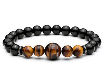 Tiger Eye Bead Bracelet for Men   BraceletsDR