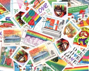50 Rainbow Vintage Postage Stamps