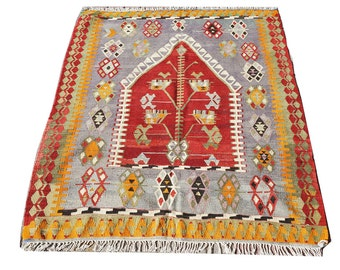 "Turkish Small Kilim Rug,Hand Made Turkish Area Rug,Kilim,Carpet ,Rug ,Turkish Kilim Rug 47,5"" x 59"" inches -  121 x 150 cm,Unique Kelim"