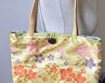 S A L E     yellow and metallic gold purse with colorful blossoms
