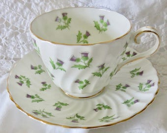 Aynsley Purple Thistles Pattern 15287 Bone China Footed Teacup and Saucer