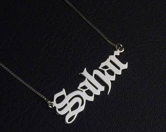 Old English Jewelry, Old English Necklace, Custom Name Necklace, Personalized Necklace, Old English Font Necklace, Sterling Silver Necklace
