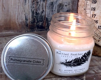 Pomegranate Cider Soy Candle, All Natural Soy Candle, 8oz, The Holiday Shoppe @ The Ruffled Feather Candle Co.