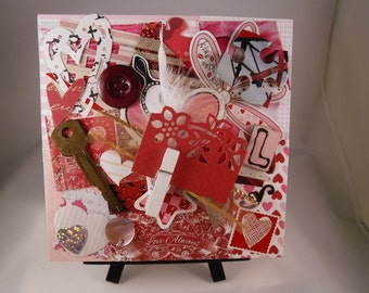 "Original Mixed Media Collage Art, 5x5, Canvas, ""Love Always,"" Valentine's Day"