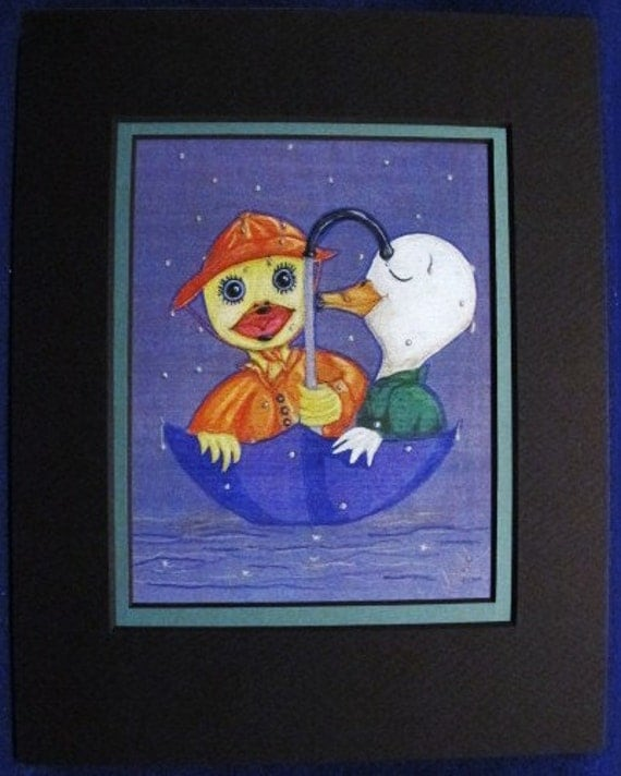 Love'in The Rain: Limited pre-matted prints. Framing size 8x10