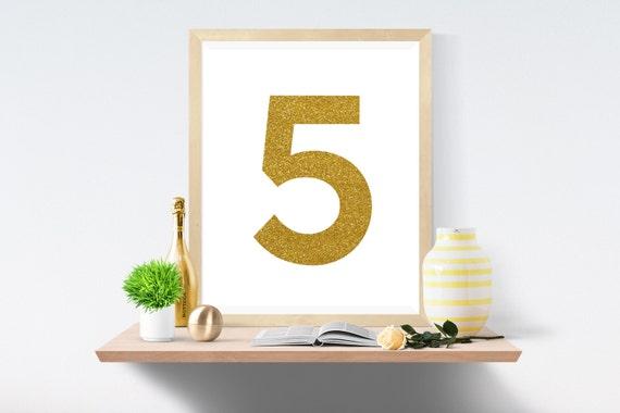 Printable Art, Number 5, Gold, Art Prints, Wall Art, Art Print, Wall Prints, House Number, Table Printable, Instant Download, Modern Art
