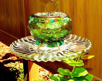 Glass Bird or Butterfly Feeder, Vintage Green Glass Bowl, Crystal Platter, & other pieces make it also a Beautiful Sun Catcher. STUNNING!