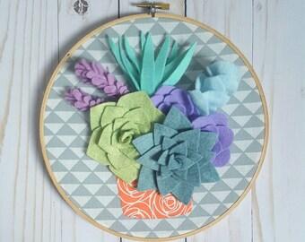 Potted felt succulents hoop art