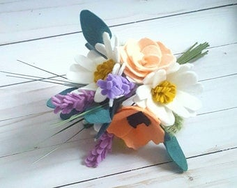 Spring felt wildflower bouquet with daisies,  spring wedding bouquet, felt flower bouquet, felt wedding bouquet