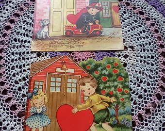 Unused vintage Valentines.  Valentine's Day cards. Marked Litho in U.S.A.  Apprx. 6 x 6 inches.