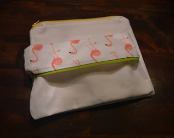 Zippered Pouch, Blank, Add your own saying, Flamingo, Pencil Pouch, Make-up Pouch, bag, makeup bag, pencil bag, handmade