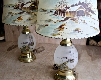Mid Century Glass Table Lamps with Fiberglass Shades/ Farmhouse/ Cabin Decor/c. 1950s Lighting