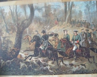 Old 298 piece wooden jigsaw puzzle Imperial Stag Hunt
