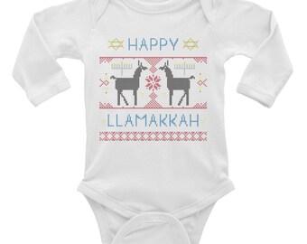 Happy Llamakkah // Hanukkah Onesie // Chanukkah Onesie // Llama Onesie //Baby Onesie // Funny Baby Onesie // Long Sleeve Onesie