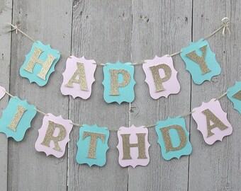 Happy Birthday banner, Birthday banner, Pink and Gold banner, Personalized name banner, Pink birthday banner, First birthday banner