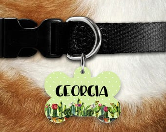 Pet Tags, Dog ID Tag, Dog Name Tag, Personalized Dog Tag, Custom Dog Tag, Pet ID, Dog Name Tag, Pet Name Tag, Cactus Dog Tag, Unique Tag